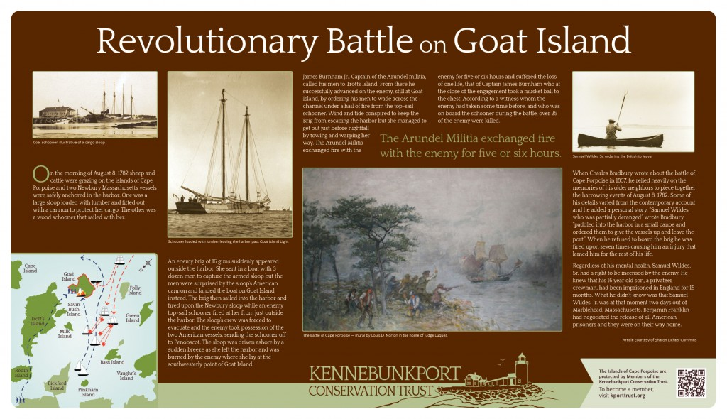 Revolutionary Battle on Goat Island Sign